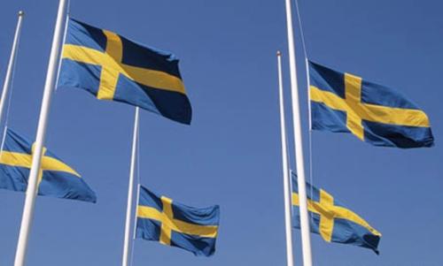 flaggan på halv stång