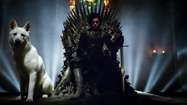 Jon-Snow-on-the-Iron-Throne-with-Ghost-Game-of-Thrones